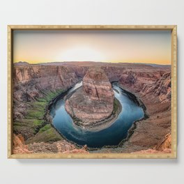 The Bend - Horseshoe Bend During Southwestern Sunset Serving Tray
