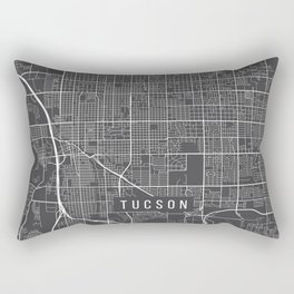 Tucson Map, Arizona USA - Charcoal Portrait Rectangular Pillow