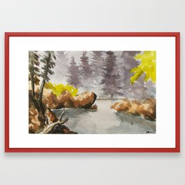 foggy river Framed Art Print