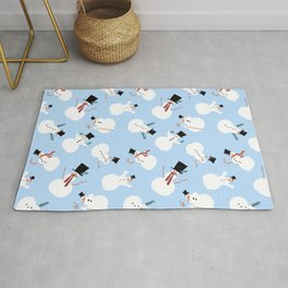 Retro Midcentury Snowmen Pattern on an arctic blue background Rug