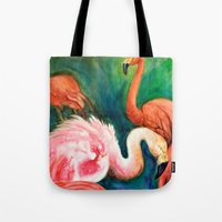 hot pink Tote Bags featuring Hot Pink by Brigitta