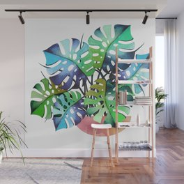 Watercolor Monstera Or One Fine Swiss Cheese Plant Wall Mural