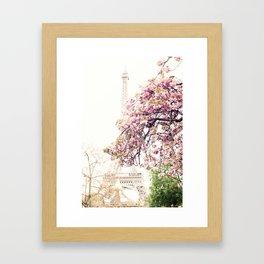 Cherry blossoms in Paris, Eiffel Tower II Framed Art Print