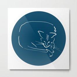 Relaxing Cat in blue circle Metal Print