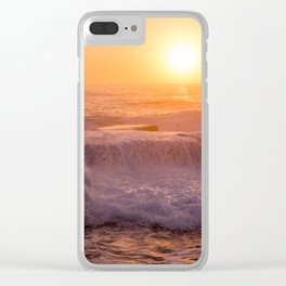 Sunset Rolling Waves Clear iPhone Case
