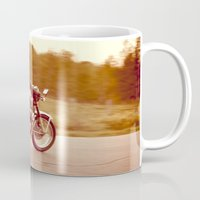 cafe racer Mugs featuring Vintage cafe racer by gabyjalbert