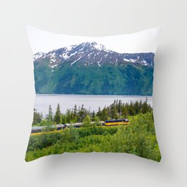 Alaska Passenger Train - Bird Point Throw Pillow