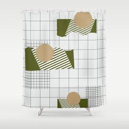 Checks Lines Grid Shower Curtain