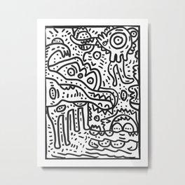 Cool Graffiti Art Doodle Black and White Monsters Scene Metal Print