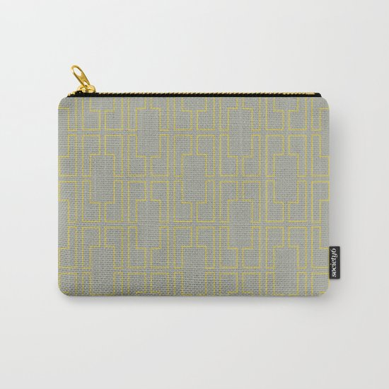 Simply Mid-Century Mod Yellow on Retro Gray Carry-All Pouch