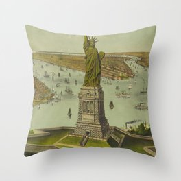 Currier & Ives. - Print c.1885 - Statue of Liberty 2 Throw Pillow