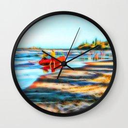 Surf Rescue on beautiful beach Wall Clock