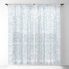 Blue Delicate Nature Mandala Sheer Curtain