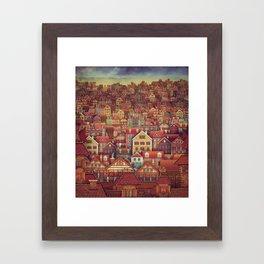 Cute City Street Scene ,Many Houses Framed Art Print