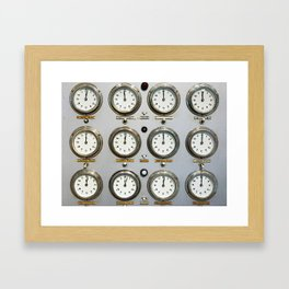 Retro clock faces on control panel Framed Art Print