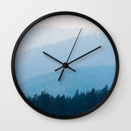 Parallax Mountain Hills Blue Hues Minimal Modern Landscape Photo Wall Clock