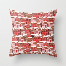 Gingerbread Village Throw Pillow