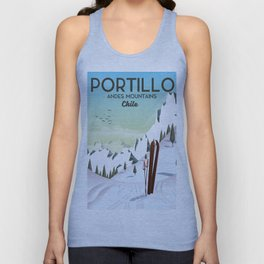 Portillo Ski Chile Ski travel poster. Unisex Tank Top
