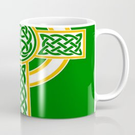 St Patrick's Day Celtic Cross White and Green Coffee Mug