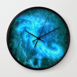 Blue Spiral Fractal Wall Clock