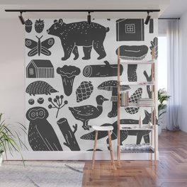 Abstract hand painted black gray forest animals illustration Wall Mural
