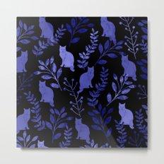 Watercolor Floral and Cat Metal Print