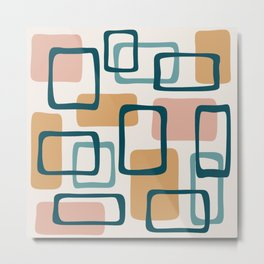 Mid Century Modern Abstract Squares Pattern 444 Metal Print