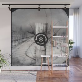 Cabernet - black and white wine photo vineyard Wall Mural