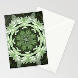 Tropical Twist - Green Leaves Kaleidoscope, Mandala Stationery Cards