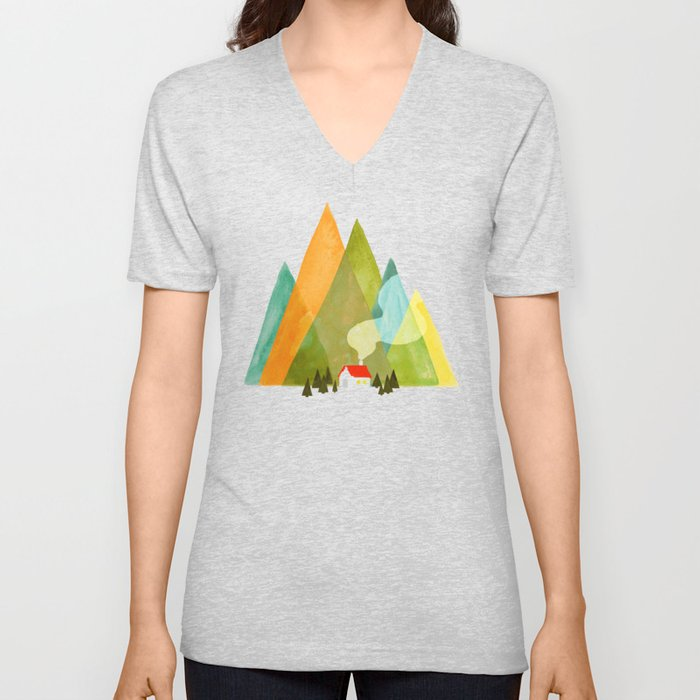 House at the foot of the mountains Unisex V-Neck