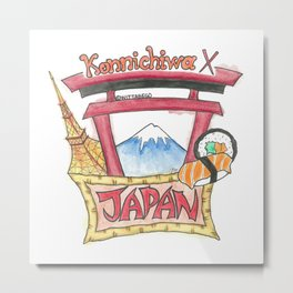 Japan Konnichiwa Metal Print