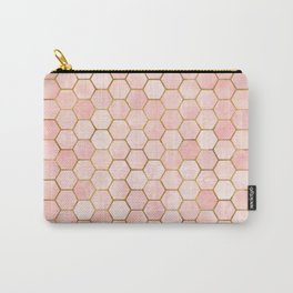 Pink and Gold Geometric Pattern Carry-All Pouch