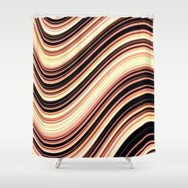 Wavy Brown Stripes Shower Curtain