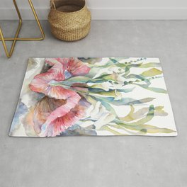 White Calla Lily and Corals Seaweed Watercolor Surreal Botanical Underwater Rug