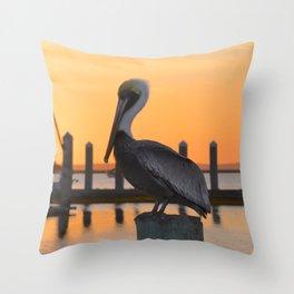 sunset pelican Throw Pillow