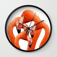 flamingos Wall Clocks featuring Flamingos by Regan's World