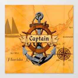 Captain Anchor And Ship Helm Canvas Print