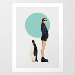 Girl & Penguin #2 Art Print