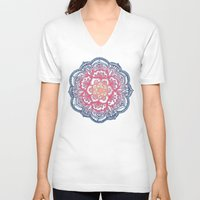 bedding V-neck T-shirts featuring Radiant Medallion Doodle by micklyn
