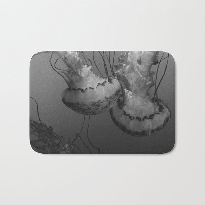 Jellyfish (Black and White) Bath Mat