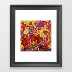 floral on yellow Framed Art Print