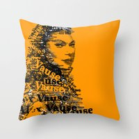 alex vause Throw Pillows featuring Alex Vause (Laura Prepon)-typography OITNB by ThousandWords