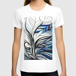 Black & Blue Lines Inspired By Ocean T-shirt