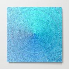 Light Blue Floral Circle Mandala Metal Print