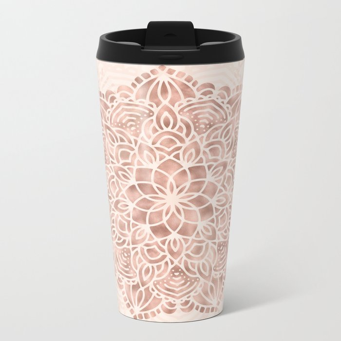 Mandala Seashell Rose Gold Coral Pink Metal Travel Mug