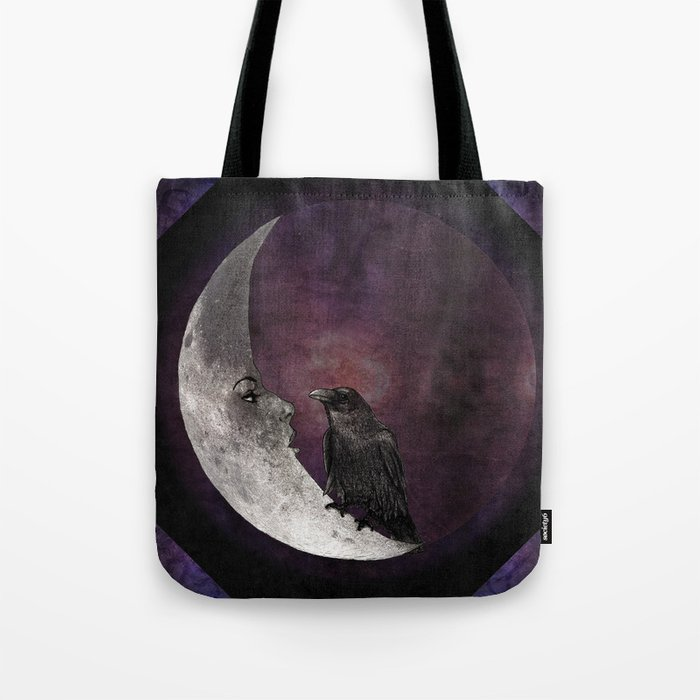 The crow and its moon. Tote Bag