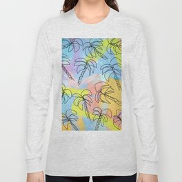 Palm tree pattern summer illustration tropical beach California pastel color Long Sleeve T-shirt