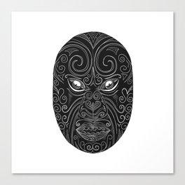 Maori Mask Scratchboard Canvas Print