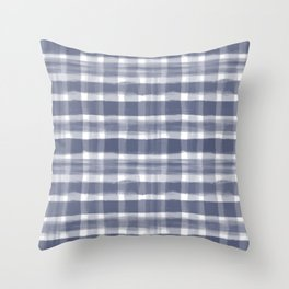 Watercolor Brushstroke Plaid Pattern Pantone Blue Depths 19-3940 on White Throw Pillow