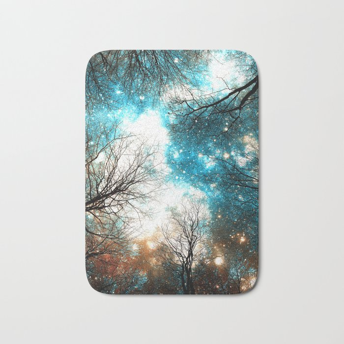 Black Trees Turquoise Brown Space Bath Mat